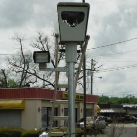 A Redflex Traffic Systems red light camera in Phenix City, Alabama, April 11, 2013.