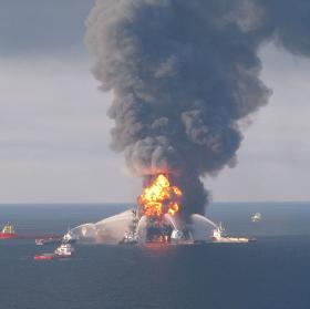 Fire boat response crews battle the blazing remnants of the off shore oil rig Deepwater Horizon April 21, 2010.