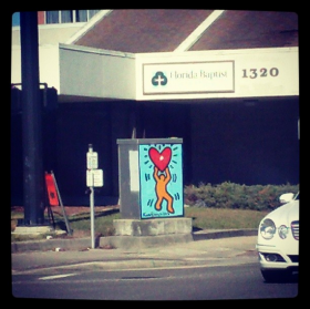A utility box painting by 'Keith Haring's Ghost' in Jacksonville's San Marco neighborhood in 2013. The art, now known to have been painted by Chip Southworth, has since been removed.