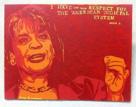 George Zimmerman's latest painting, depicting Florida State Attorney Angela Corey.