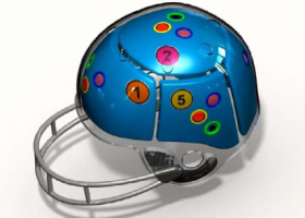 "A diagram of Sports Technologies LLC's ""Concussion Detection and Reduction Helmet System."""