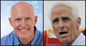 Governor Rick Scott, left, and Charlie Crist, right.
