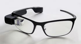 Google Glass with frame for prescription lenses.