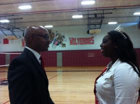 Principal Dr. Gregory Bostic and senior Mikayla Stanfield in the new Westside Wolverine gymnasium.