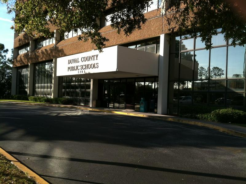 The Duval County Public Schools headquarters building is pictured. Monday evening's meeting will be held at Wolfson High School.
