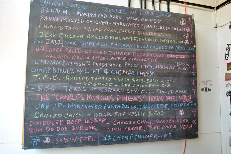 """Chomp Chomp's ever-changing chalkboard menu, with specials like the """"Charles Mingus Dingus"""" and the """"Dwiddley Beep Bebop Buh Do Dop Burger"""" themed specifically for the Jacksonville Jazz Festival this weekend."""