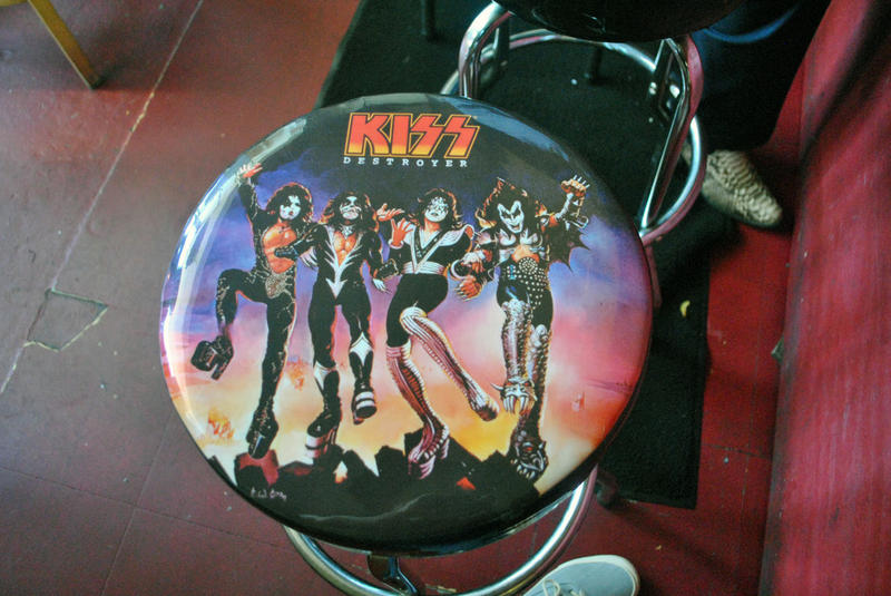 One of the resaurant's heavy metal themed barstools.