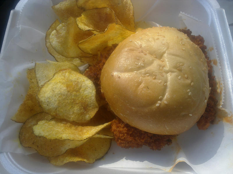The Westsider, with curry/jerk potato chips.