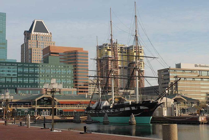 The USS Constellation docked in front of Harborplace in Baltimore's Inner Harbor, Feb. 11, 2007.
