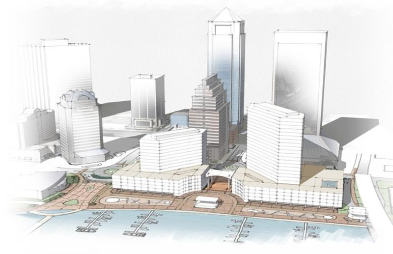 An artists rendering of the proposed redevelopment of Jacksonville Landing.