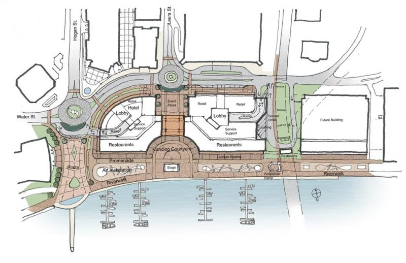 A draft design of the renovated Jacksonville Landing as shown to the Downtown Investment Authority this week.