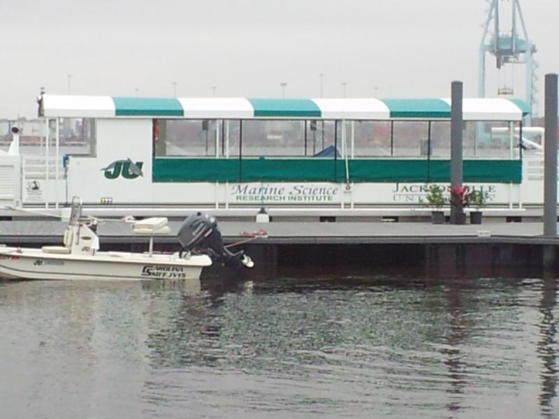 The new floating classroom being used by Jacksonville University's Marine Science Research Institute docked on the St. Johns River.