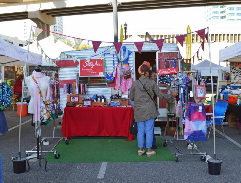 Keiser's mobile boutique, Sally Ann Handmade Recycled Fashion, set up at the Riverside Arts Market in Jacksonville.