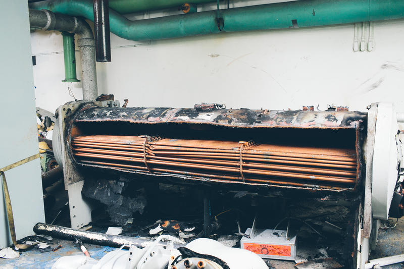 Chillers for the system's chillde water cooling system, with hundreds of feet of copper pipe running through tem, will be dismantled and replaced with more energy efficient systems.