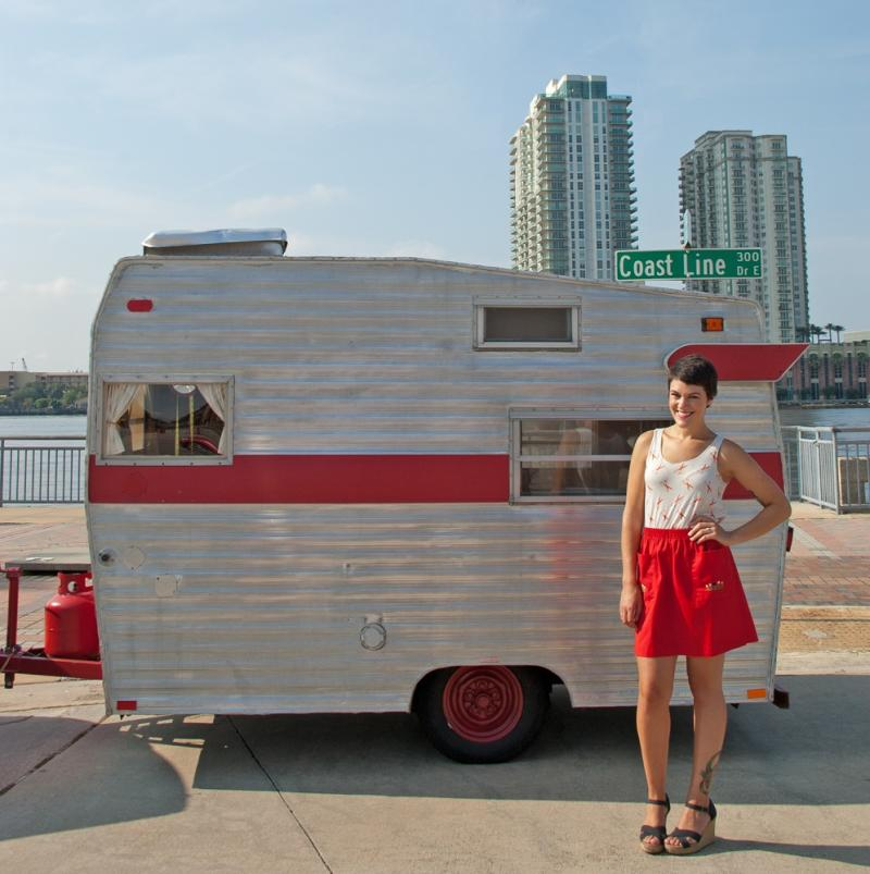 Keiser standing out front of her mobile boutique.