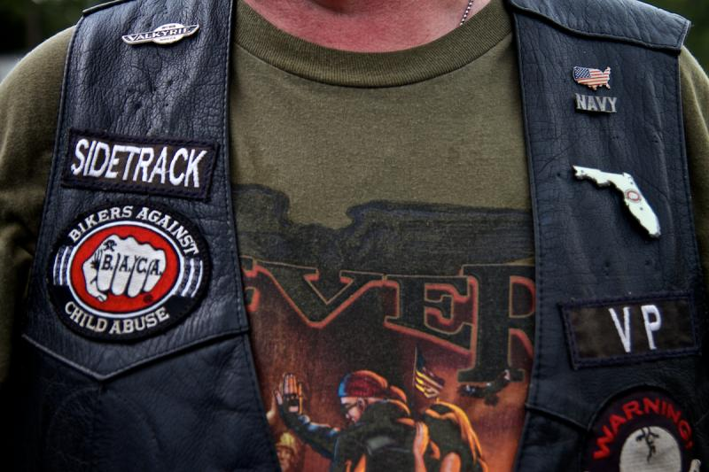 Sidetrack, BACA Seven Bridges Chapter's Vice President, wears his patches with pride.