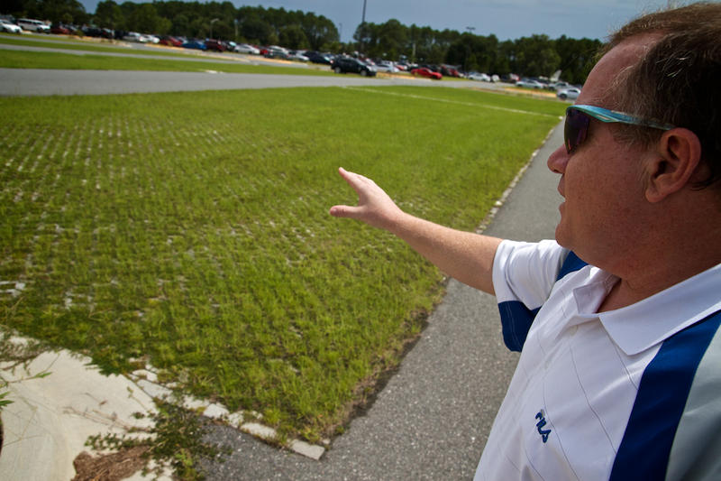 Turf blocks in the new parking lots grow drough-resistant Bahiagrass.