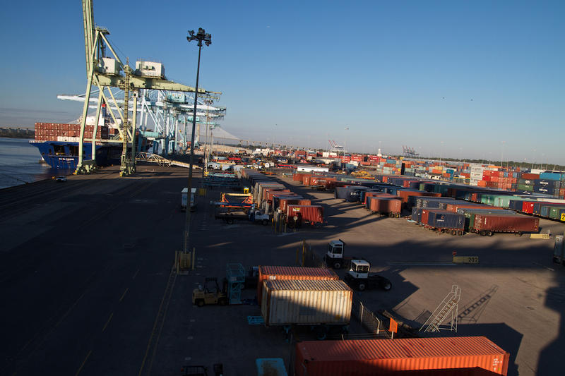 Containers wait for transport at JAXPORT's Blount Island Terminal.