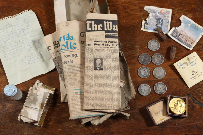 newspapers, coins, etc.