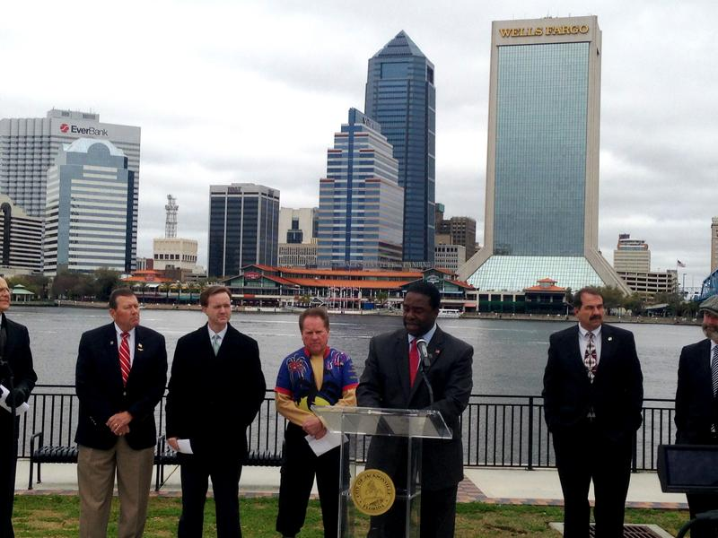 Mayor Alvin Brown speaks at the opening of the Southbank Riverwalk. (From left to right, Jim Love, City Council President Clay Yarborough, Councilman Don Redman, Mayor Alvin Brown, John Crescimbeni, Tony Allegretti