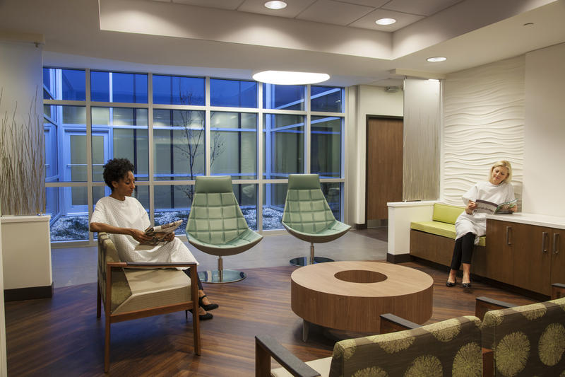 Radiology women's waiting room with light tower