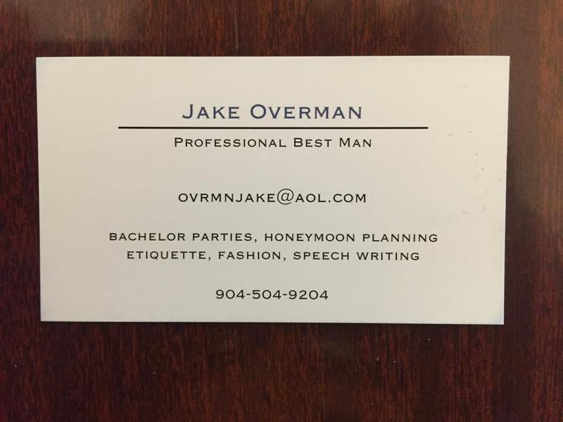 Professional Best Man business card