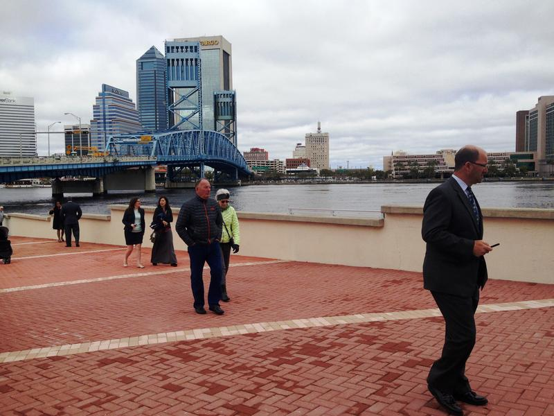 Pedestrians tour the newly opened Southbank Riverwalk.