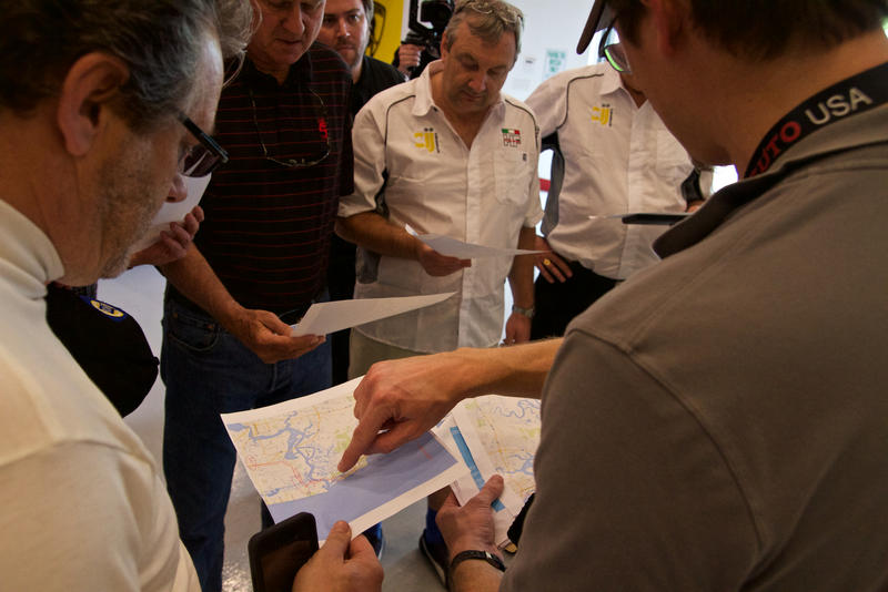 Drivers review the route from Jacksonville to the Concours d'Elegance on Amelia Island.