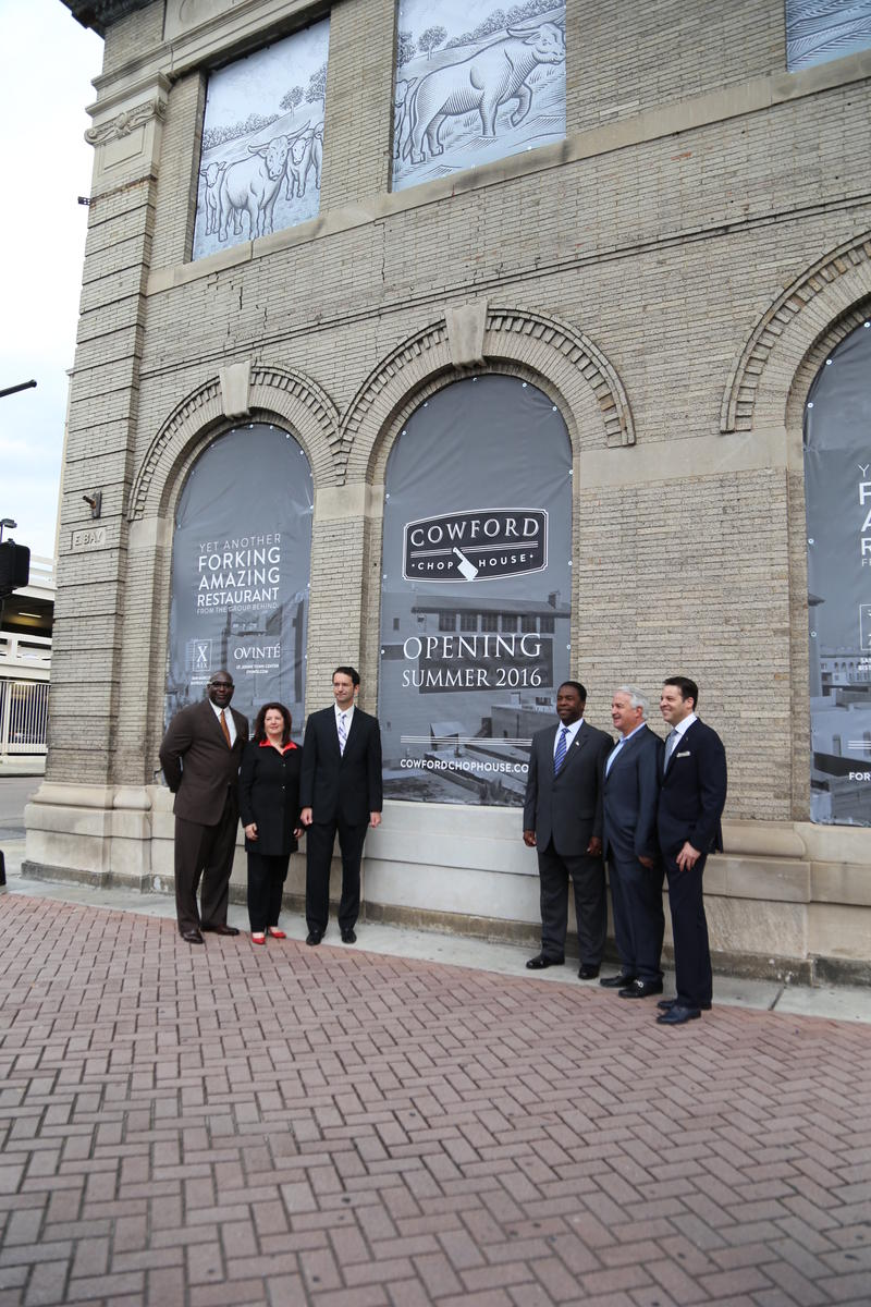 Aundra Wallace, CEO of the Downtown Investment Authority;City Council Member Lori Boyer, liaison to the Downtown Investment Authority; Oliver Barakat, chairman of the Downtown Investment Authority; Mayor Alvin Brown and Jacques Klempf and Fraser Burns, t