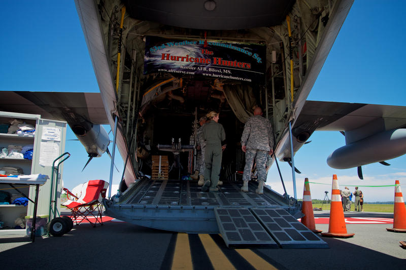 The Hurricane Hunters' WC-130J aircraft can weigh up to 800 tons at takeoff.