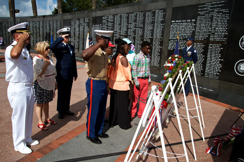 Five names are added to the Duval County Veterans Memorial Wall during the 2015 City of Jacksonville Memorial Day Observance. May 25, 2015.