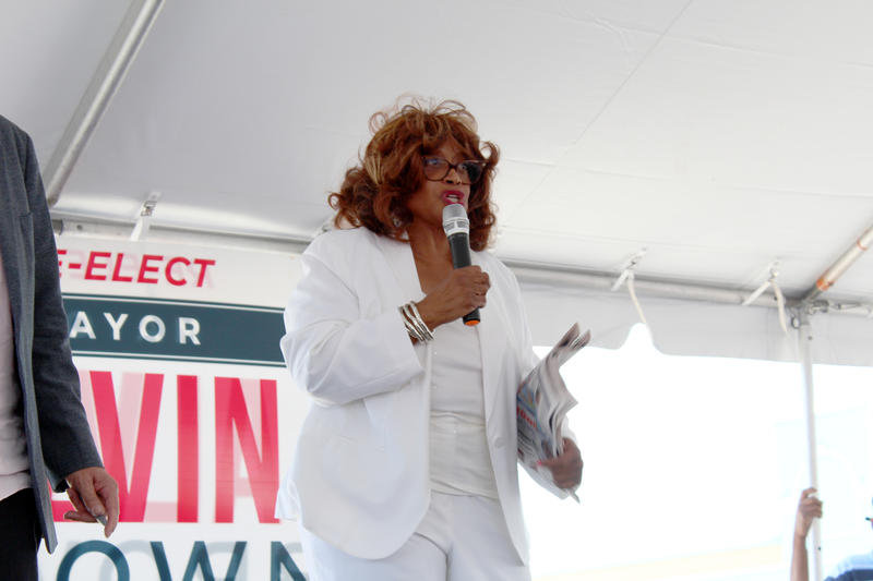Congresswoman Corrine Brown speaks to the crowd at an early voting rally on Friday.