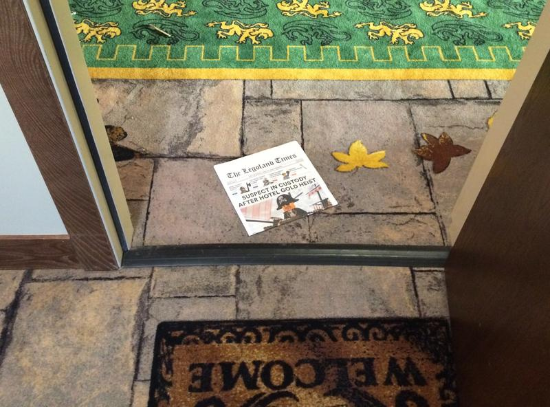 Just like any other hotel, guests are greated in the morning with a newspaper at the door.