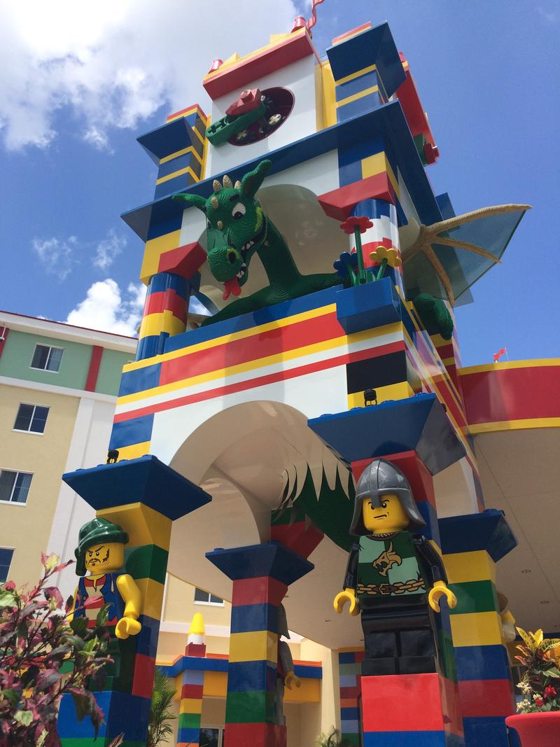 A 15-foot-tall dragon made of LEGO bricks stands guard over the LEGOLAND Hotel