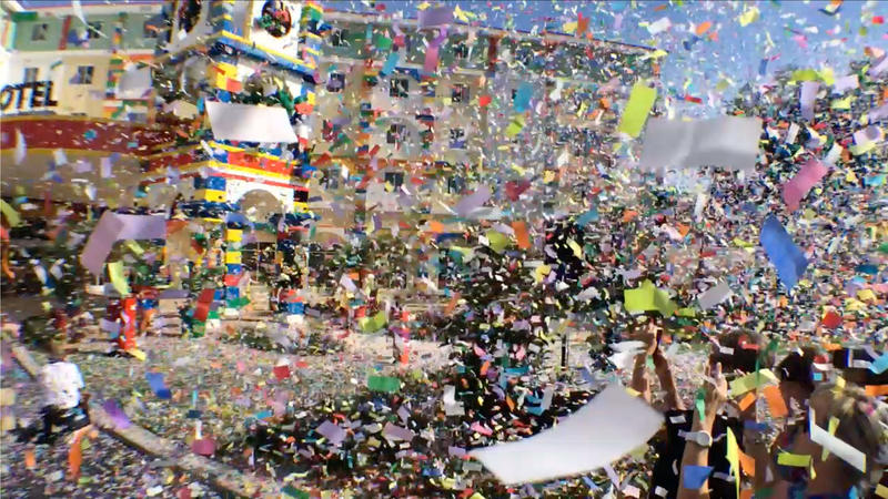 Tons of confetti fills the sky at the LEGOLAND Hotel opening ceremony.