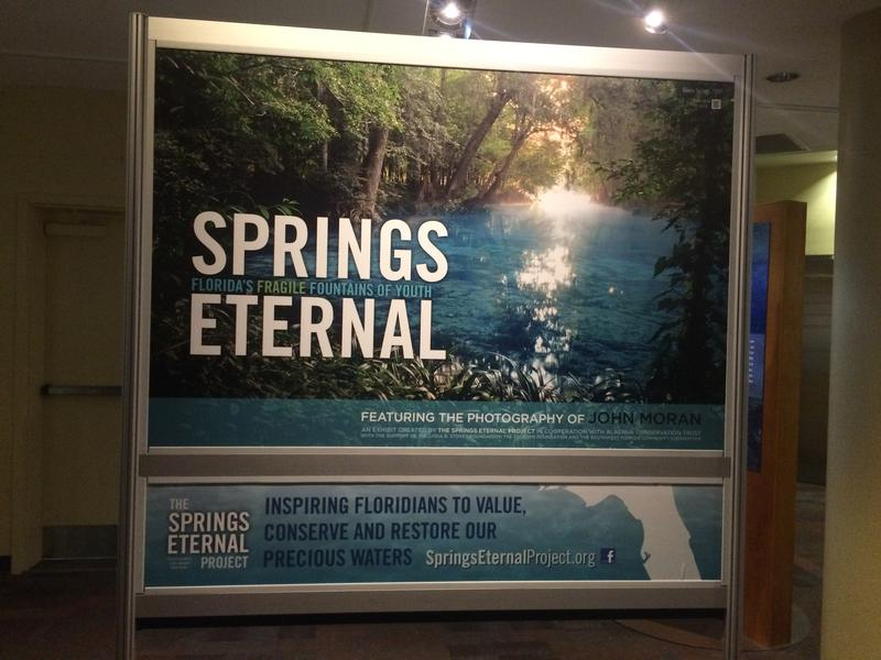 """The sign at the beginning of the exhibit tells guests its mission is to inspire """"Floridians to value, conserve and restore our precious waters."""""""