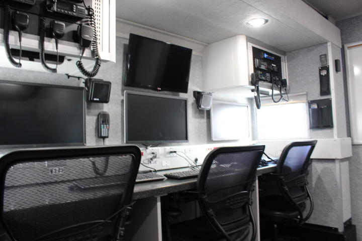 An interior view of the mobile command center, a FPL truck designed to respond to power outages during disasters.