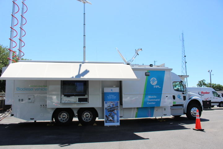 An exterior view of the mobile command center, a FPL truck designed to respond to power outages during disasters.