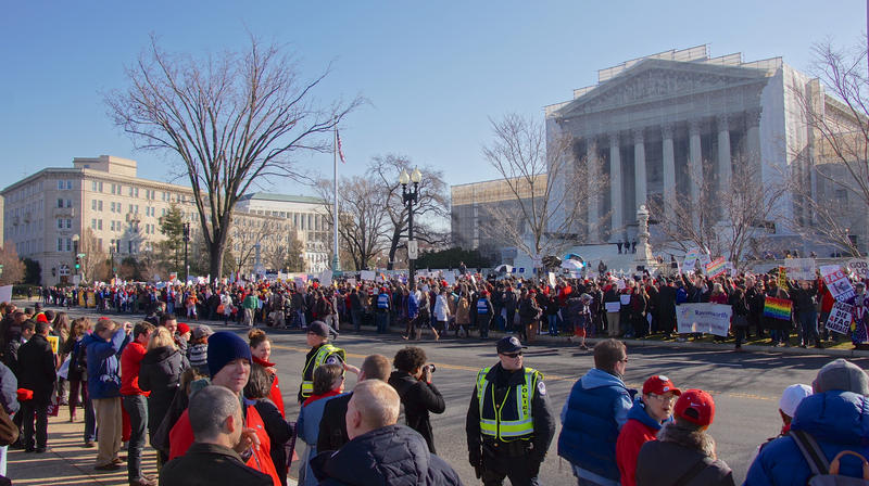 Protesting in front of the Supreme Court about same sex marriage