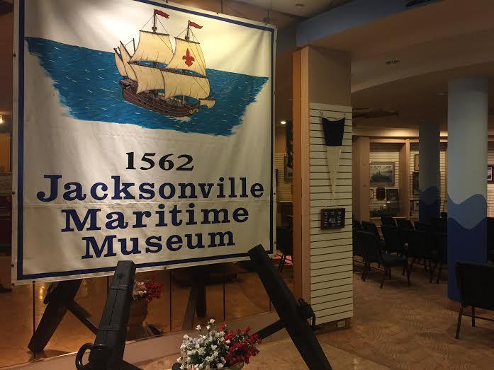 banner inside museum