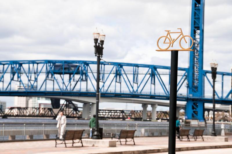 bike rack near Main Street Bridge