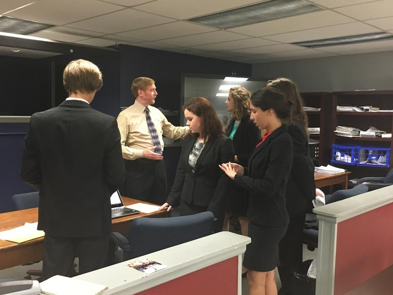 Fletcher's mock trial team practices for nationals, Wednesday.