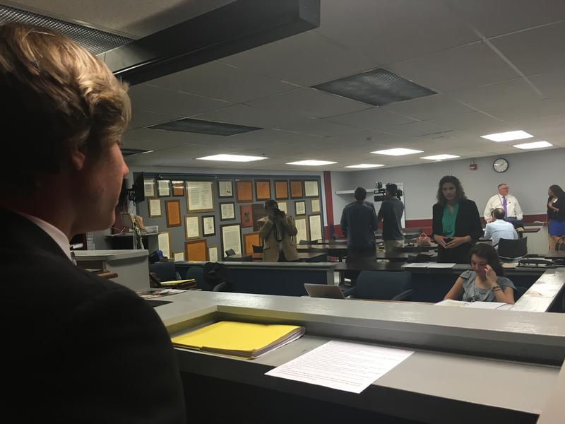 Fletcher mock trial team member Cory Gann is questioned on the witness stand by Devon Roddel at practice, Wednesday.