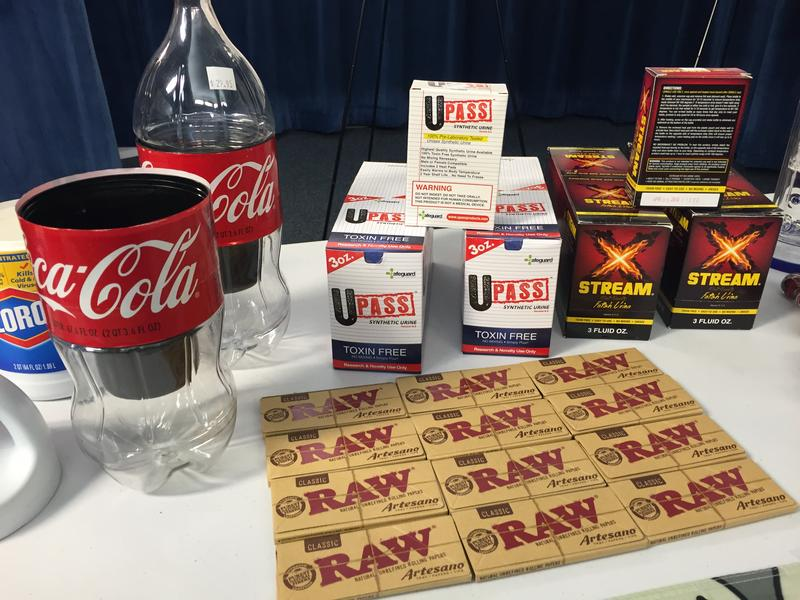 Items siezed during the Smoker's Video raids include fake Coke bottles meant to disguise drugs.