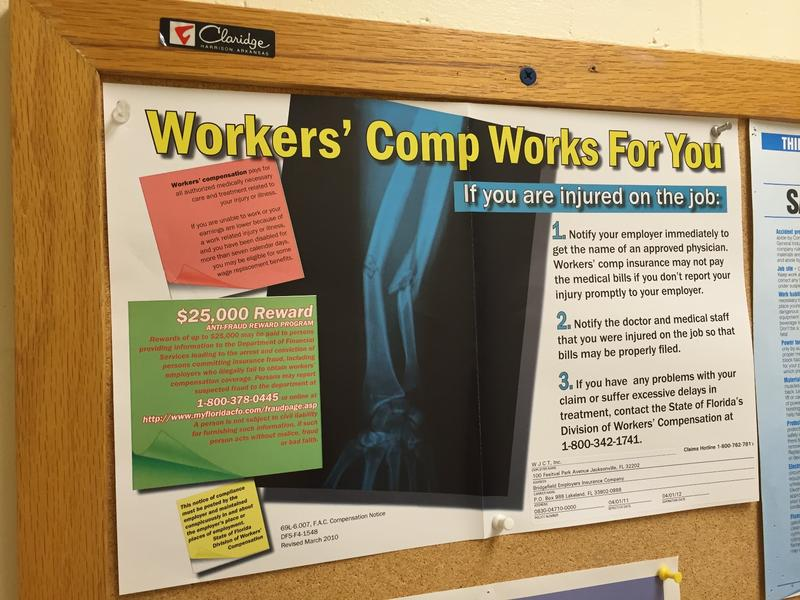 workers' comp info on bulletin board