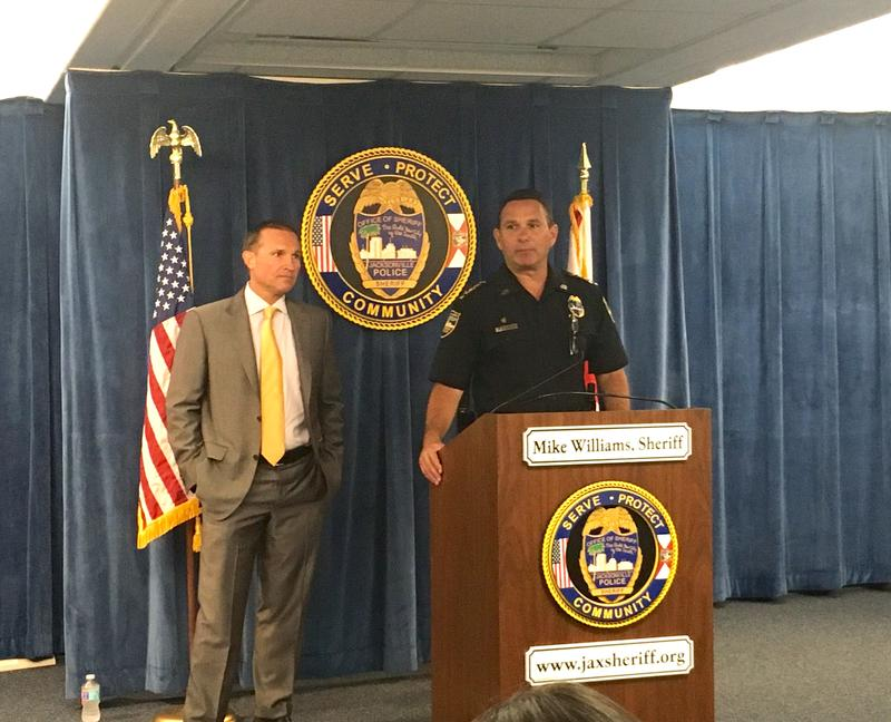 Jacksonville Sheriff Mike Williams and Mayor Lenny Curry say a larger police presence has decreased street shootings, Thursday.
