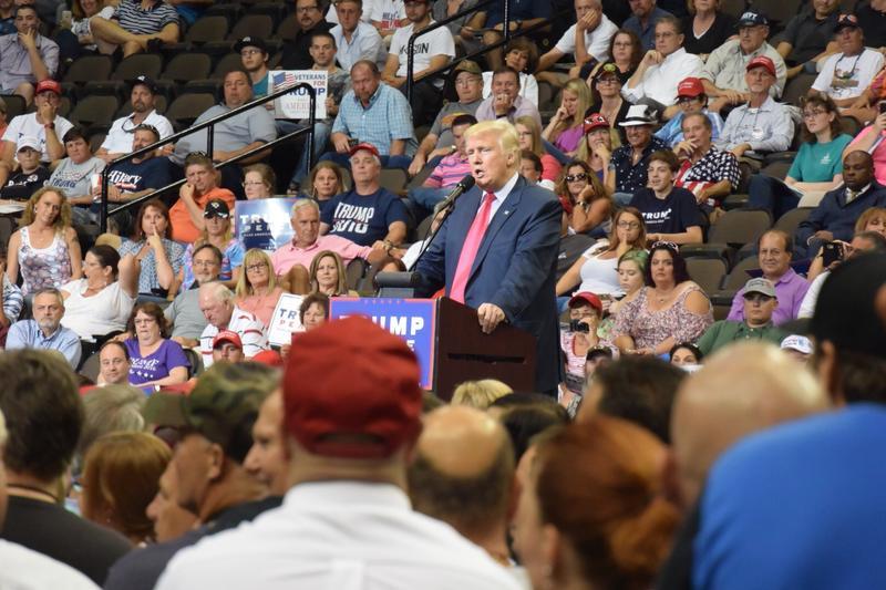 Donald Trump speaks at Veterans Memorial Arena on Aug. 3, 2016.