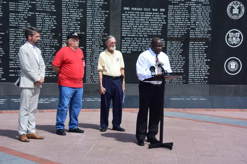 Will Fischer, former U.S. Marine & Purple Heart recipient; David Gates, veterans and Jacksonville IBEW member; Ernie Hartless, Army veteran; and Jerry Green, Army veteran.
