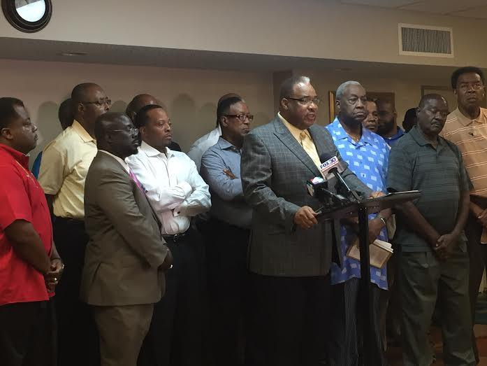 Pastor Fred Newbill led a group of black pastors in condemning politicians who endorse Circuit Judge Mark Hulsey.