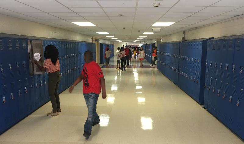 Students at Wolfson High School change classes.